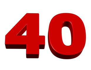 kırmızı renkli 40 sayısı