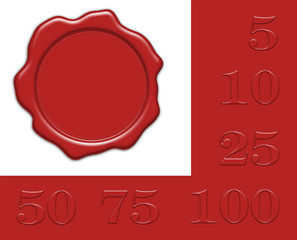 leeres rotes Wachssiegel mit Jahreszahlen