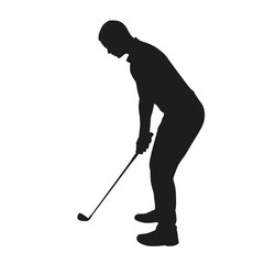 Golfer isolated silhouette