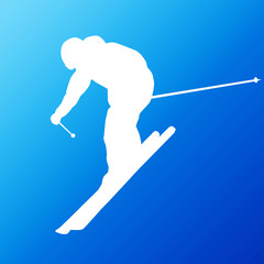 Downhill skier. Vector silhouette