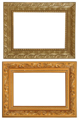 Set of 2 gold frames. Isolated on white background