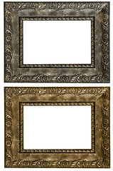Set of 2 gold frames. Isolated on white background