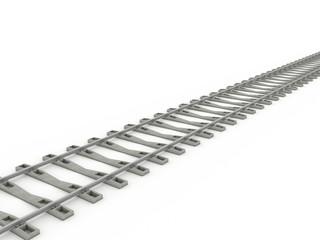 Iron rails on a white background. Raster. 1