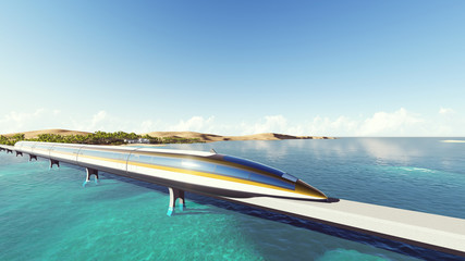 Train on the background of the sea. Raster. 5