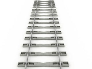Iron rails on a white background. Raster. 2