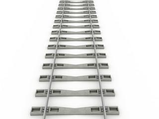 Iron rails on a white background. Raster. 2