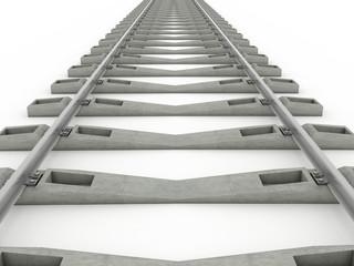 Iron rails on a white background. Raster. 3
