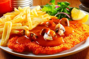 German Cuisine - Gourmet Jägerschnitzel and Fries