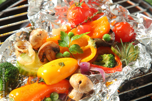 Colorful selection of fresh roasted vegetables - 78407538