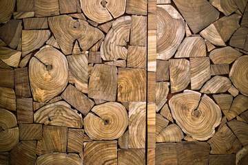 ces of teak wood stump background