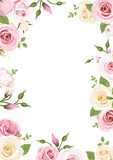 Background with pink and white roses and lisianthus flowers.