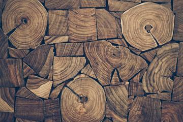 pieces of round teak wood stump background