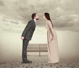 couple in foggy park