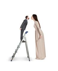 woman raising forward and kissing