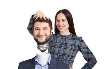woman twisting mans head