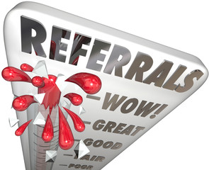 Referrals Thermometer Gauge Measuring New Business Customers