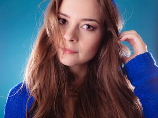 Portrait young woman teen girl long hair