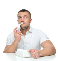 man using nebulizer for respiratory inhaler Asthma Treatment