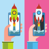 Cellphone in hand with spaceship. Start up vector concept. poster
