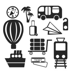Set of travel web and mobile icons. Vector.
