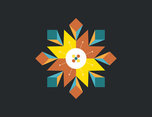 abstract star geometry color vector design