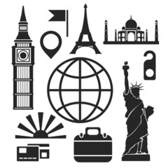 Travel web and mobile icons. Vector.