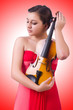 Young girl with violin on white