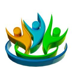 Teamwork 3D logo optimistic people icon