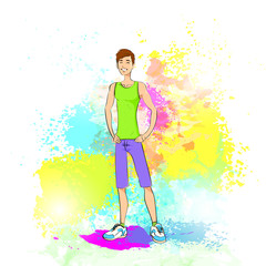 Sport man fitness trainer over colorful splash paint