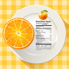 Vector of Nutrition Facts Serving Size 1 Orange Fruit