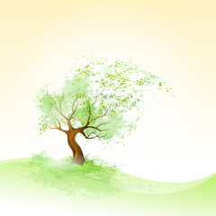 green tree with leaves blowing wind and brown bark vector