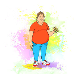 Fat overweight man eat burger, junk fast food, concept of