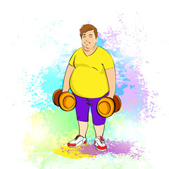 Fat overweight sport man hold dumbbells, cartoon guy over