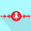 microphone red icon with sound wave flat design vector - 78412947
