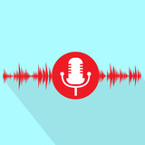 microphone red icon with sound wave flat design vector