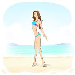 woman on summer beach, long leg blonde sexy girl bikini