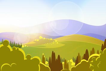 autumn yellow mountains tree valley landcape vector