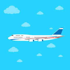aircraft flat design style vector illustration airplane flying