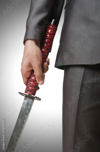 Poster Businessman with sword on white