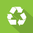 recycle symbol logo flat icon with shadow white on green - 78413745