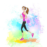 sport woman run with fitness tracker on wrist girl runner poster