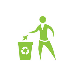 Person throw rubbish to recycle bin symbol vector logo