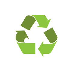 recycle symbol logo icon with shadow vector