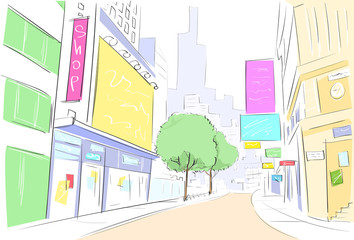 street city view draw sketch shops colorful buildings