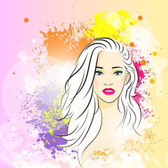 beautiful woman face colorful ink paint splash, young sketch