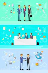 business people group working set, handshake meeting, team