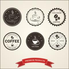 Set vintage retro coffee