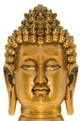 bouddha doré sur fond blanc