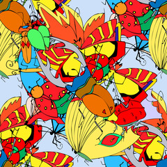 Background of the insects: butterflies, beetles, larvae, seamles