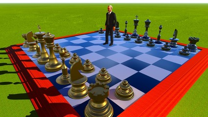 Businessman on chess board